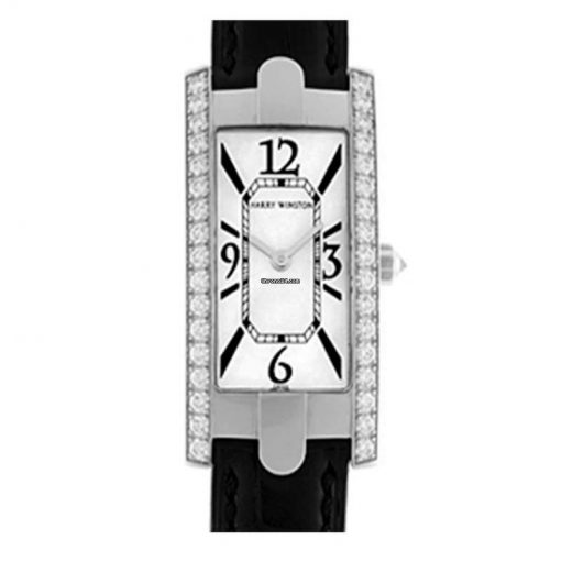 Harry Winston Avenue C Captive 18K White Gold Black Leather Ladies Watch, preowned.330LQW