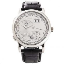 A. Lange & Sohne Lange 1 Time Zone Platinum Black Leather Men`s Watch 116.025