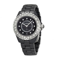 Chanel J12 Diamond Ceramic Diamonds Unisex Watch preowned.CNH2428