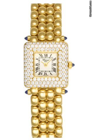 Chopard Happy Sport Square 18K Yellow Gold & Diamonds Ladies Watch, preowned.419-1