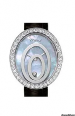 Chopard Happy Spirit Oval 18K White Gold Diamonds Ladies Watch preowned.20/7193