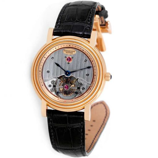 Parmigiani Toric Tourbillon 18K Rose Gold Leather Men`s Watch, preowned.PF000383