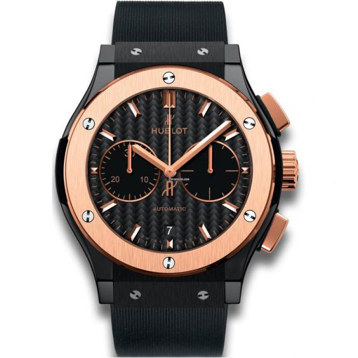 Hublot Classic Fusion Black Magic Chronograph Ceramic 18k Rose Gold Men's Watch, 521.CO.1781.RX