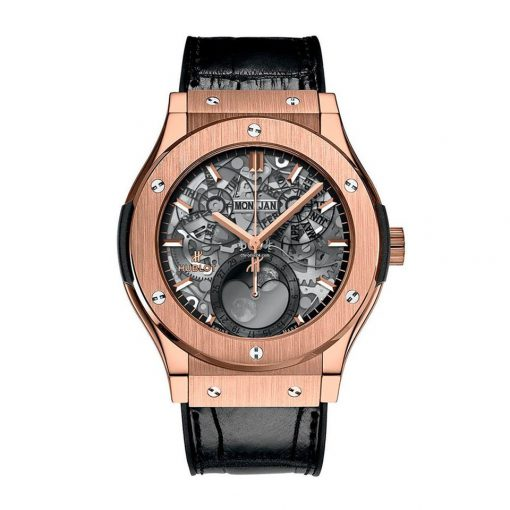 Hublot Classic Fusion Moonphase Automatic 18K King Gold Men's Watch, 517.OX.0180.LR