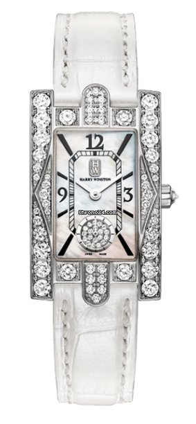 Harry Winston Avenue C Aurora Mother of Pearl Dial 18k White Gold Diamond White Alligator Ladies Watch, AVEQHM21WW231