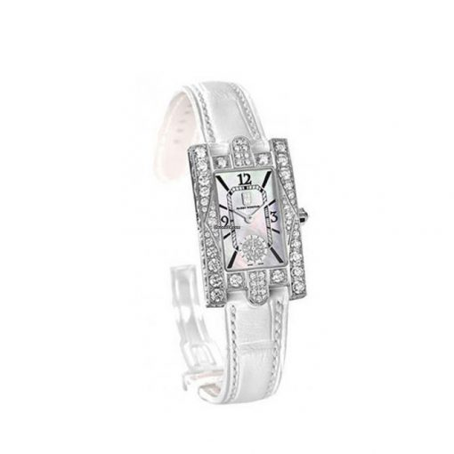 Harry Winston Avenue C Aurora Mother of Pearl Dial 18k White Gold Diamond White Alligator Ladies Watch, AVEQHM21WW231 3
