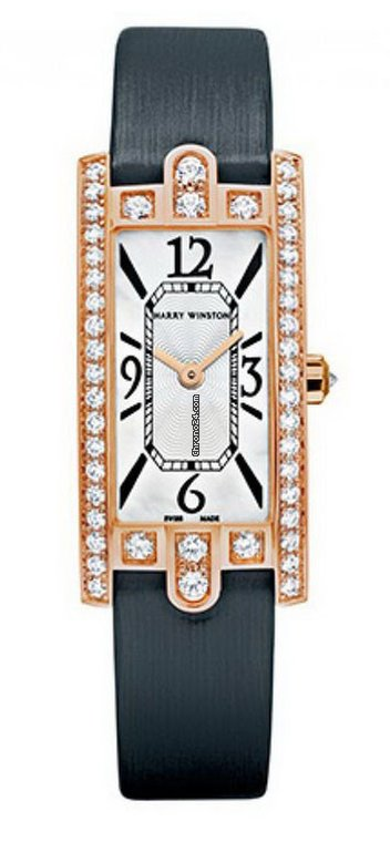 Harry Winston Avenue Mini 18k Rose Gold Diamonds Ladies Watch, AVCQHM16RR017