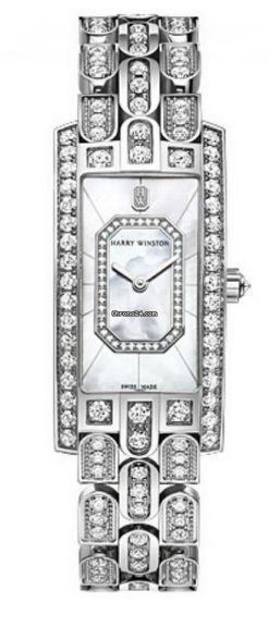 Harry Winston Avenue C Emerald 18k White Gold Diamonds Ladies Watch AVCQHM19WW138