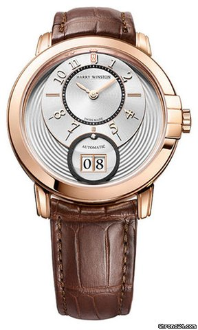 Harry Winston Midnight Big Date 18K Rose Gold Leather Men's Watch, 451/MABD42RL.W2-(MIDABD42RR005)