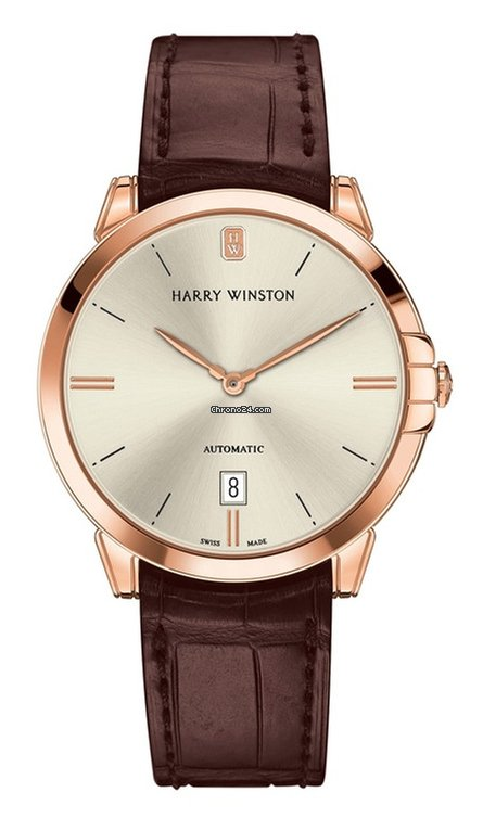 Harry Winston Midnight 18K Rose Gold Leather Unisex Watch, 450/UA39RL.W1-(MIDAHD39RR001)