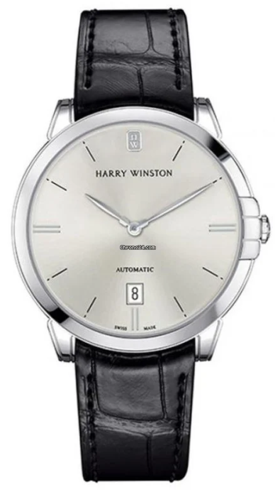 Harry Winston Midnight 18K White Gold Leather Men's Watch, 450/UA39WL.W-(MIDAHD39WW001)