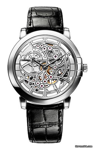 Harry Winston Midnight Skeleton 18K White Gold Leather Men's Watch, 450/MAS42WL.W-(MIDAHM42WW001)