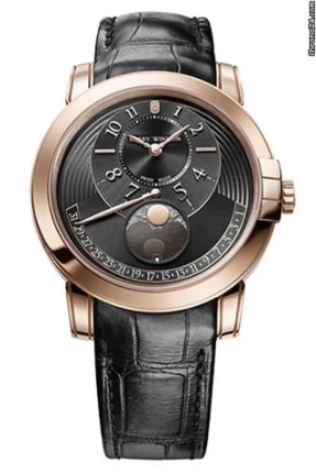 Harry Winston Midnight Moon Phase 18K Rose Gold Leather Men's Watch, 450/MAMP42RL.KD-(MIDAMP42RR002)