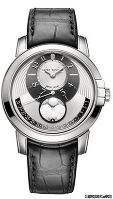 Harry Winston Midnight Moon Phase 18K White Gold Leather Men's Watch, 450/MAMP42WL.WD-(MIDAMP42WW001)