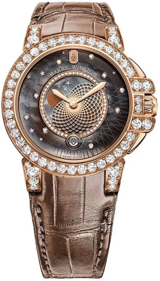 Harry Winston Ocean Lady Crocodile Leather Strap Rose Gold Ladies Watch, 400LQMP36RL.MKD1D3.1-(OCEQMP36RR026)