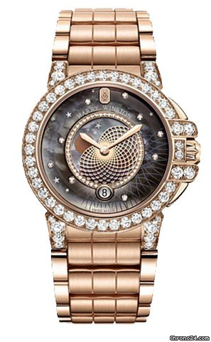 Harry Winston Ocean Lady Rose Gold Ladies Watch, 400/LQMP36RR.MKD1/D3.1-(OCEQMP36RR027)