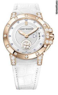 Harry Winston Ocean Lady Z Leather Strap Rose Gold Ladies Watch, 400/LA36RC.W/D01-(OCEAHD36RR001)
