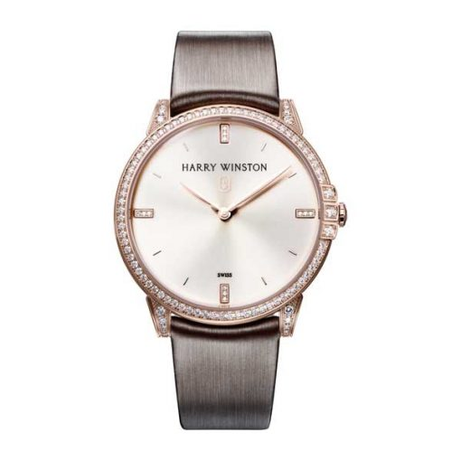 Harry Winston Midnight Quartz Diamonds 18K Rose Gold Men's Watch, 450/UQ39RL.W1/D3.1-(MIDQHM39RR002) Harry Winston