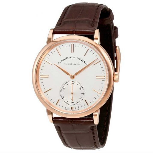 A. Lange and Sohne Saxonia White Dial 18K Rose Gold Automatic Men's Watch, 380.033