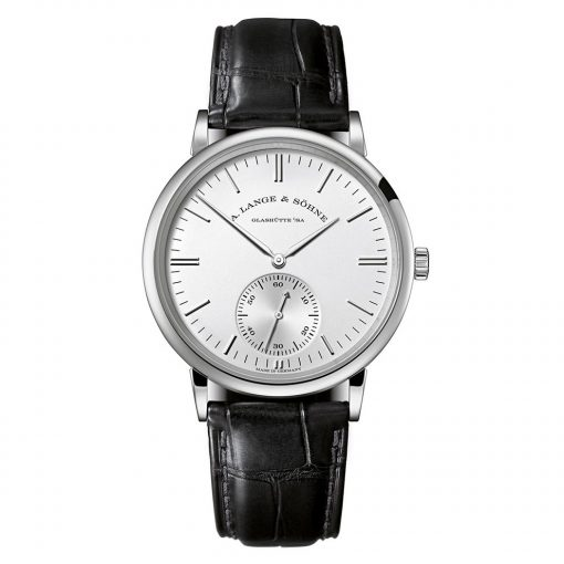 A Lange and Sohne Saxonia Silver Dial 18K White Gold Automatic Men's Watch, 380.027