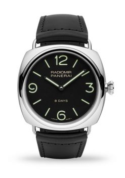 Officine Panerai Radiomir 8 Days 45mm Black Dial Leather Stainless Steel Men's Watch PAM00610