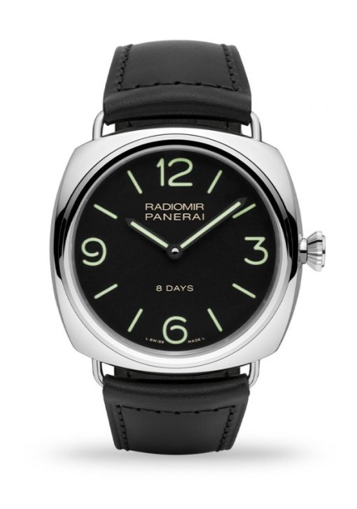 Officine Panerai Radiomir 8 Days 45mm Black Dial Leather Stainless Steel Men's Watch, PAM00610