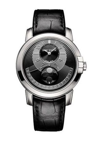Harry Winston Midnight Moon Phase 18K White Gold Leather Men's Watch, 450/MAMP42WL.KD-(MIDAMP42WW002)