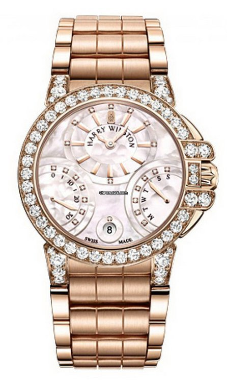 Harry Winston Ocean Biretrograde 18K Rose Gold Diamonds Ladies Watch, 400/UABI36RR1.W/D3.1-(OCEABI36RR031)