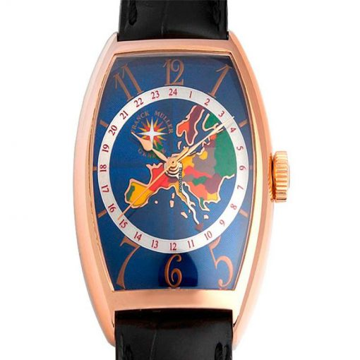 Franck Muller World Wide Australia 18K Gold Leather Men`s Watch, preowned.5850-WW