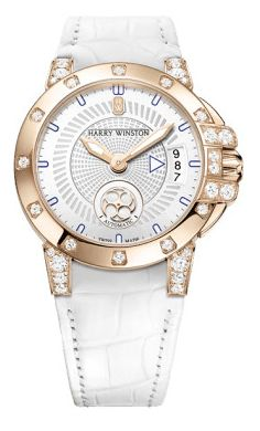 Harry Winston Ocean Chronograph 18K Rose Gold Diamonds Leather Ladies Watch, 400/LCA36RC.W/D01-(OCEACH36RR001)