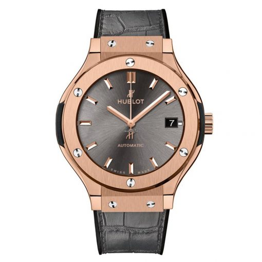 Hublot Classic Fusion Automatic King Gold Racing Grey Leather Men's Watch, 565.OX.7081.LR