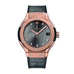 Hublot Classic Fusion Automatic 18K King Gold Racing Grey Leather Ladies Watch 581.OX.7081.LR