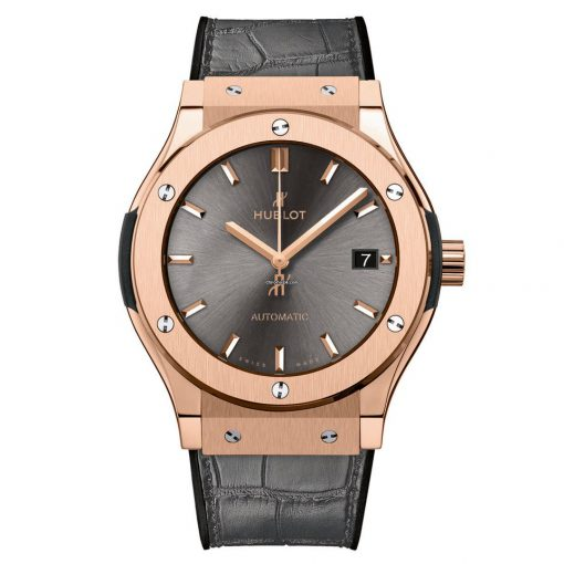 Hublot Classic Fusion 18k Rose Gold Automatic Leather Men's Watch, 511.OX.7081.LR