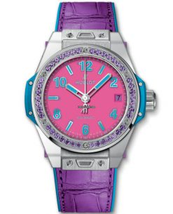 Hublot 39mm Big Bang One Click Pop Art Steel Purple Limited Edition Watch Preowned-465.SV.7379.LR.1205.POP16