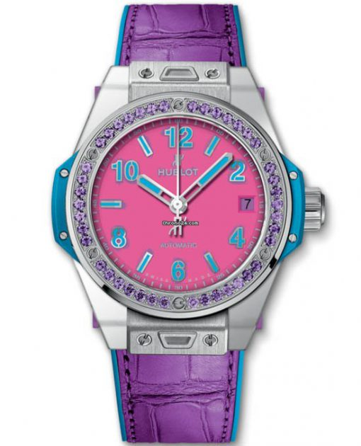 Hublot 39mm Big Bang One Click Pop Art Steel Purple Limited Edition Watch, Preowned-465.SV.7379.LR.1205.POP16