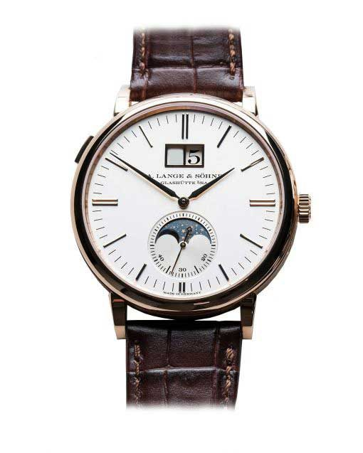 A. Lange and Sohne Saxonia Moonphase 18k Rose Gold Automatic Leather Men's Watch, 384.032