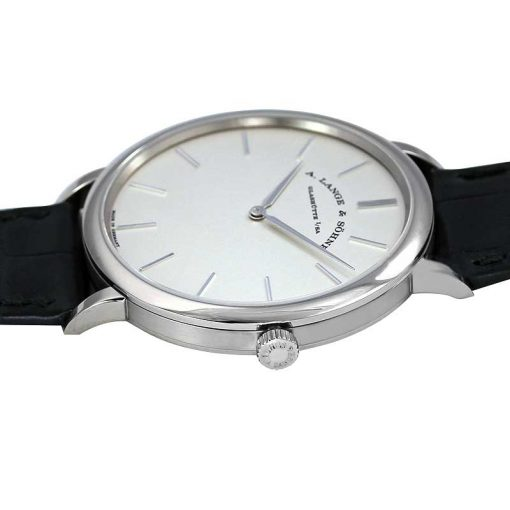 A. Lange and Sohne Saxonia Manual 18k White Gold Leather Men's Watch, 211.027 2