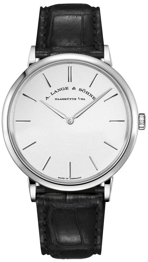 A. Lange and Sohne Saxonia Manual 18k White Gold Leather Men's Watch, 211.027