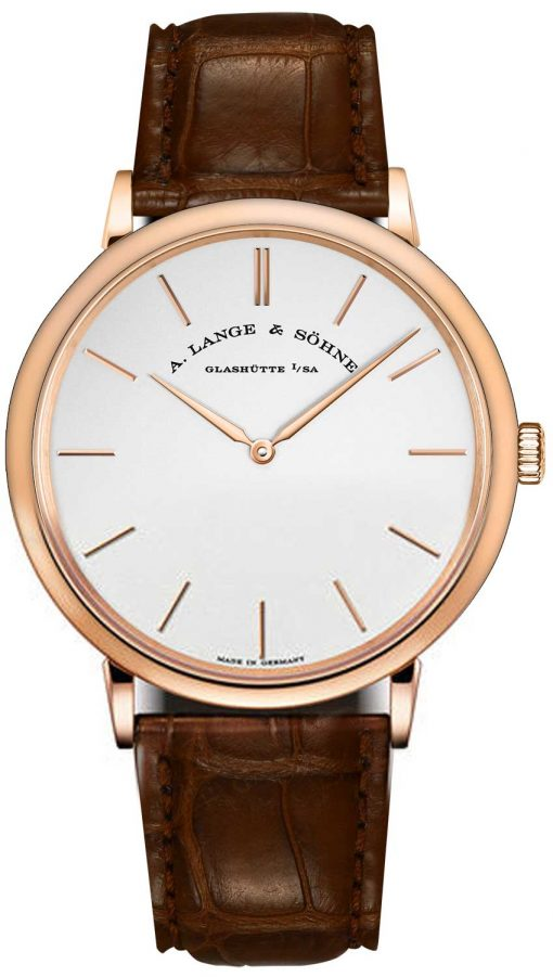 A. Lange and Sohne Saxonia Manual 18k Rose Gold Leather Men's Watch, 211.033