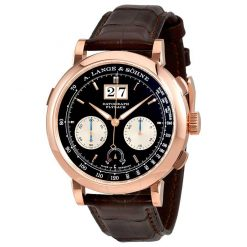 A. Lange and Sohne Saxonia Chronograph 18k Rose Gold Manual Leather Men's Watch 405.031