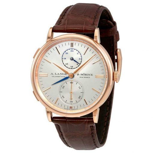A. Lange and Sohne Saxonia 18k Rose Gold Automatic GMT Leather Men's Watch, 386.032