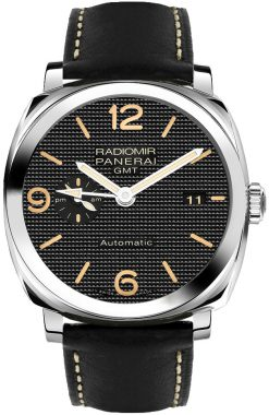 Panerai Radiomir 1940 3 Days GMT Power Reserveand Stainless Steel Leather Men`s Watch PAM00627
