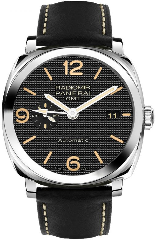 Panerai Radiomir 1940 3 Days GMT Power Reserveand Stainless Steel Leather Men`s Watch, PAM00627