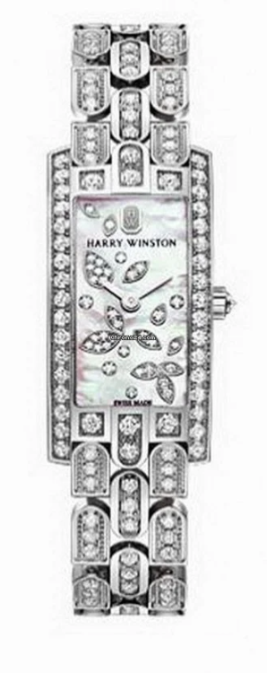 Harry Winston Avenue Mini Lily Cluster 18k White Gold Diamonds Ladies Watch, AVCQHM16WW051