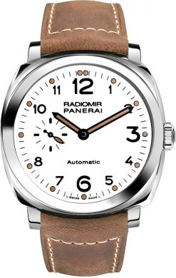 Officine Panerai Radiomir 1940 3 Days Acciaio Stainless Steel Leather Men's Watch PAM00655