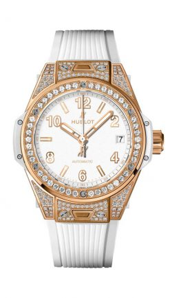 Hublot Big Bang 39mm One Click King Gold White Pave Watch 465.OE.2080.RW.1604