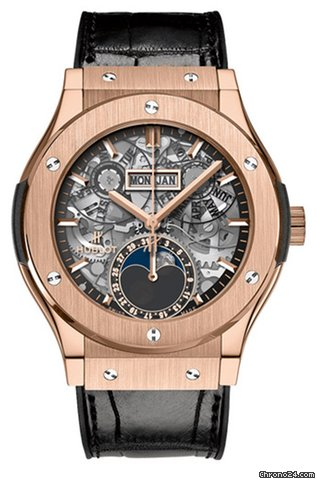 Hublot Classic Fusion 42mm Moonphase King Gold Automatic Watch, 547.OX.0180.LR