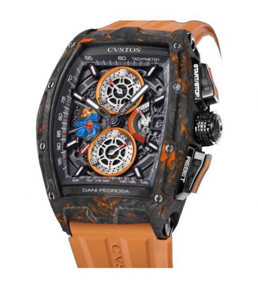 Cvstos Dani Pedrosa Collection Carbon Men's Watch, Challenge Black&Orange, Cvstos-Chrono-2-Challenge-Pedrosa-Black-Orange-Carbon