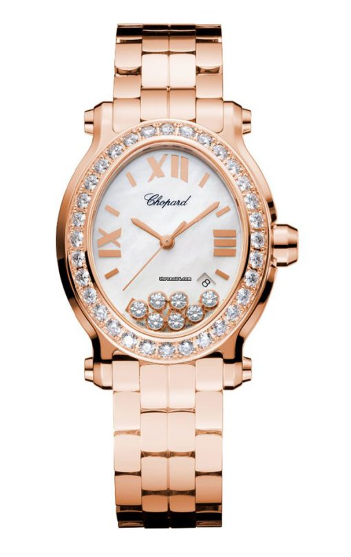 Chopard Happy Sport 18K Rose Gold & Diamonds Ladies Watch, 275350-5004