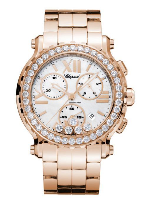 Chopard Happy Sport 18K Rose Gold & Diamonds Ladies Watch, 283583-5006